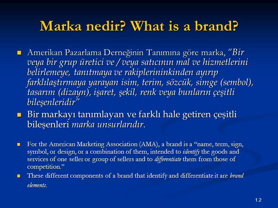 """1.2 Marka nedir? What is a brand? Amerikan Pazarlama Derneğinin Tanımına göre marka, """"Bir veya bir grup üretici ve / veya satıcının mal ve hizmetlerin"""
