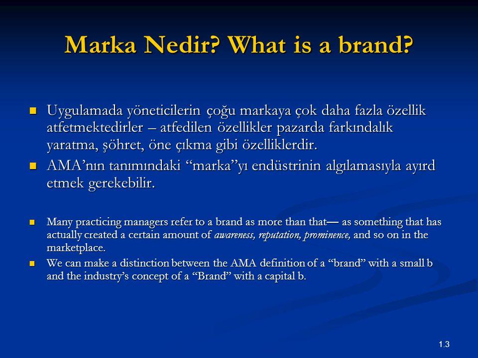 1.3 Marka Nedir? What is a brand? Uygulamada yöneticilerin çoğu markaya çok daha fazla özellik atfetmektedirler – atfedilen özellikler pazarda farkınd