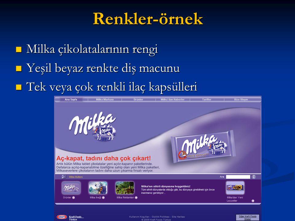 Renkler-örnek Milka çikolatalarının rengi Milka çikolatalarının rengi Yeşil beyaz renkte diş macunu Yeşil beyaz renkte diş macunu Tek veya çok renkli ilaç kapsülleri Tek veya çok renkli ilaç kapsülleri
