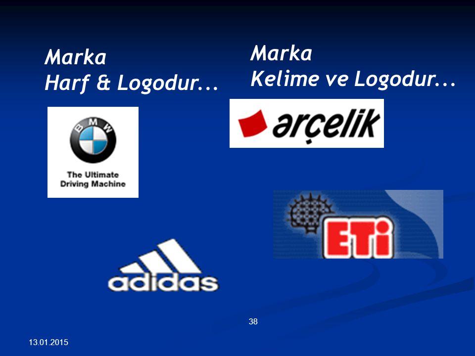 13.01.2015 38 Marka Harf & Logodur... Marka Kelime ve Logodur...