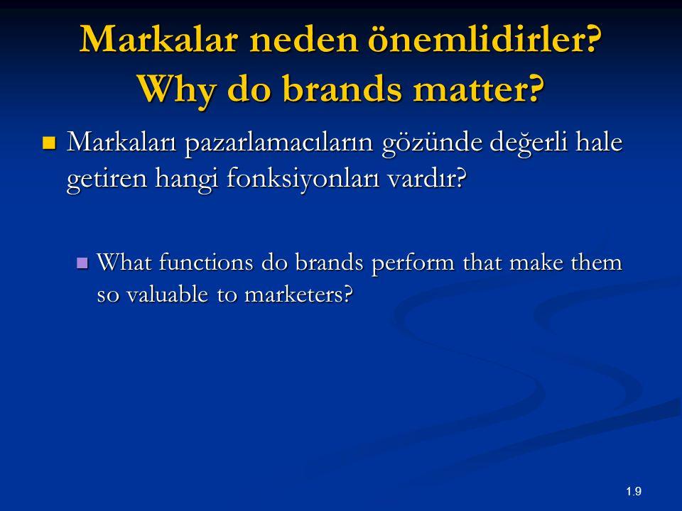 1.9 Markalar neden önemlidirler? Why do brands matter? Markaları pazarlamacıların gözünde değerli hale getiren hangi fonksiyonları vardır? Markaları p