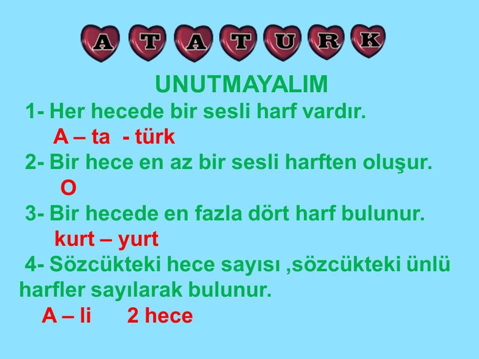 UNUTMAYALIM 1- Her hecede bir sesli harf vardır. A – ta - türk 2- Bir hece en az bir sesli harften oluşur. O 3- Bir hecede en fazla dört harf bulunur.