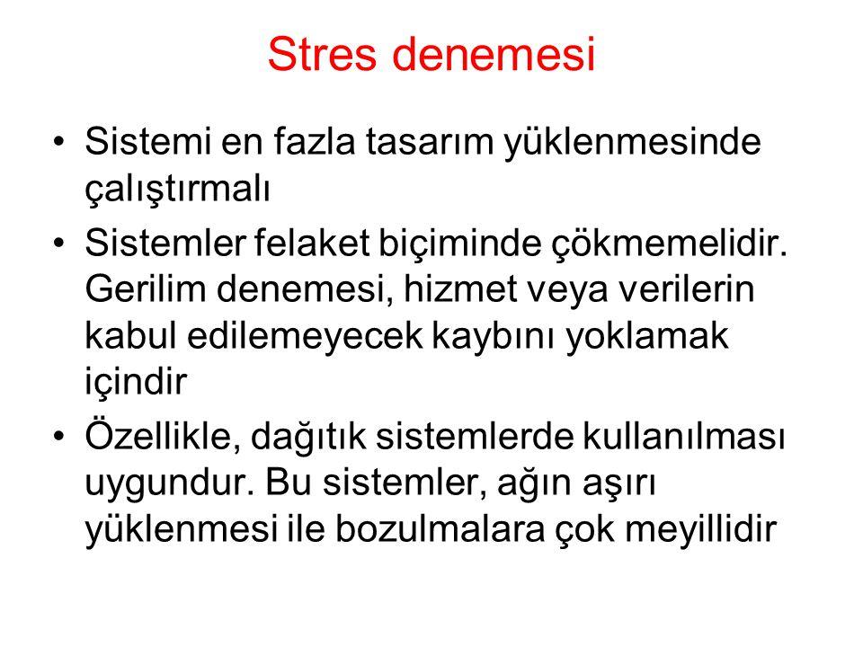 Stres denemesi Sistemi en fazla tasarım yüklenmesinde çalıştırmalı Sistemler felaket biçiminde çökmemelidir.