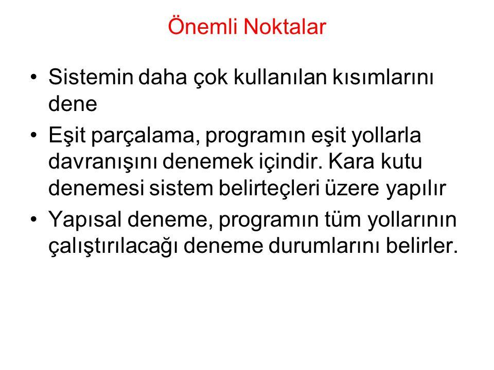 Önemli Noktalar Sistemin daha çok kullanılan kısımlarını dene Eşit parçalama, programın eşit yollarla davranışını denemek içindir.