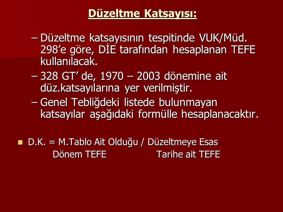 Düzeltme Katsayısı: –Düzeltme katsayısının tespitinde VUK/Müd. 298'e göre, DİE tarafından hesaplanan TEFE kullanılacak. –328 GT' de, 1970 – 2003 dönem