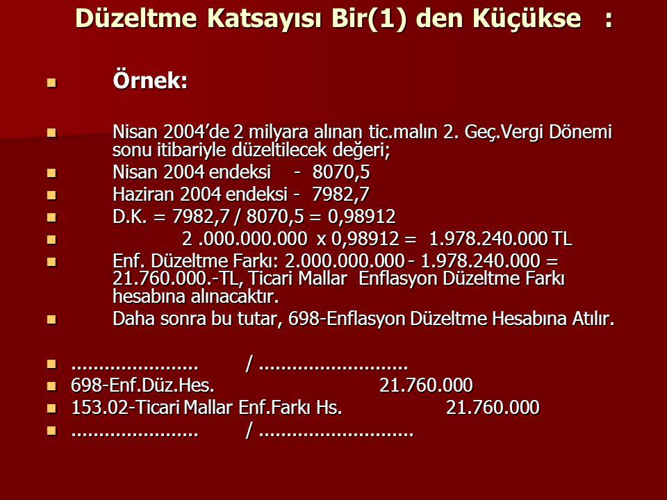 Düzeltme Katsayısı Bir(1) den Küçükse : Örnek: Örnek: Nisan 2004'de 2 milyara alınan tic.malın 2. Geç.Vergi Dönemi sonu itibariyle düzeltilecek değeri