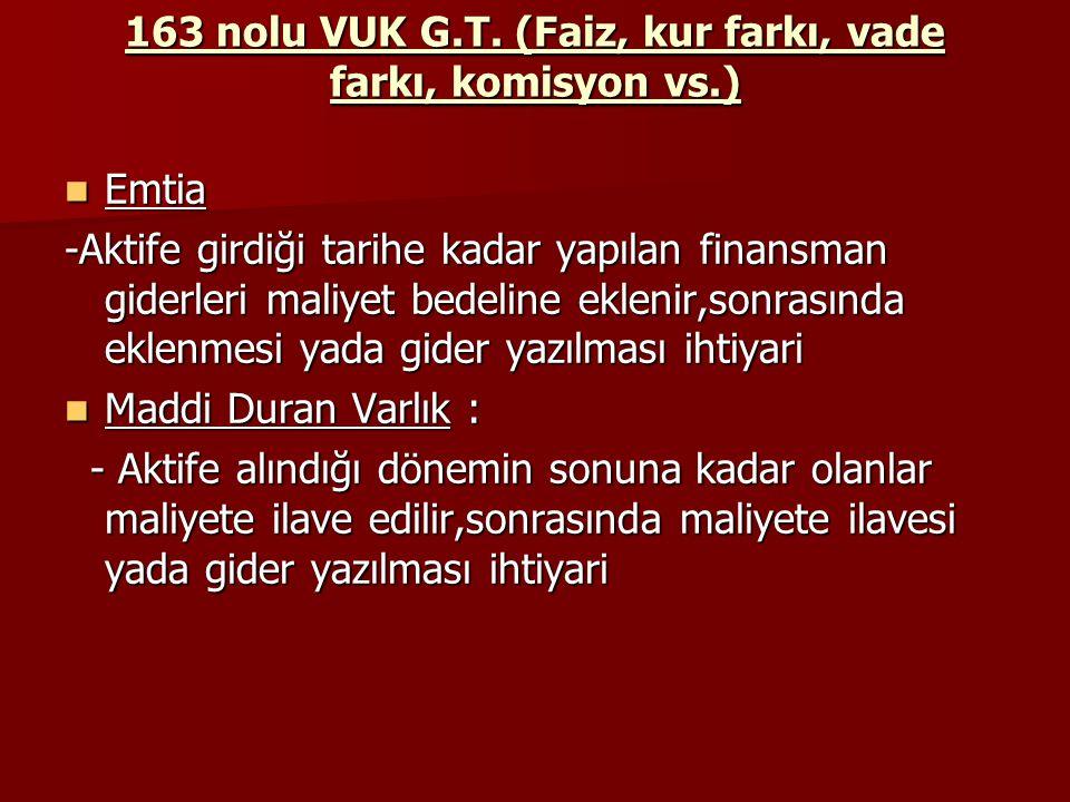 163 nolu VUK G.T. (Faiz, kur farkı, vade farkı, komisyon vs.) Emtia Emtia -Aktife girdiği tarihe kadar yapılan finansman giderleri maliyet bedeline ek