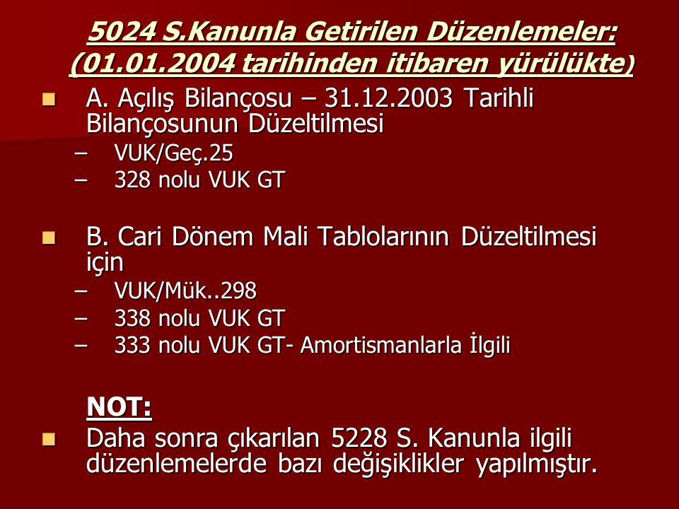 5024 S.Kanunla Getirilen Düzenlemeler: (01.01.2004 tarihinden itibaren yürülükte ) A. Açılış Bilançosu – 31.12.2003 Tarihli Bilançosunun Düzeltilmesi