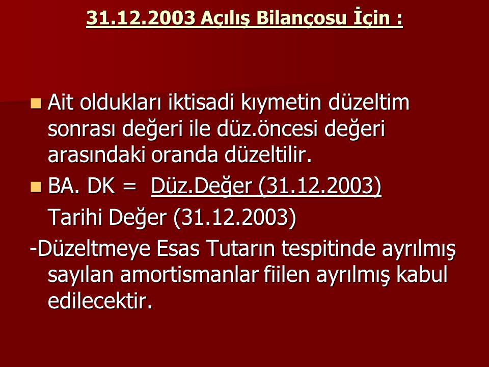 31.12.2003 Açılış Bilançosu İçin : Ait oldukları iktisadi kıymetin düzeltim sonrası değeri ile düz.öncesi değeri arasındaki oranda düzeltilir. Ait old