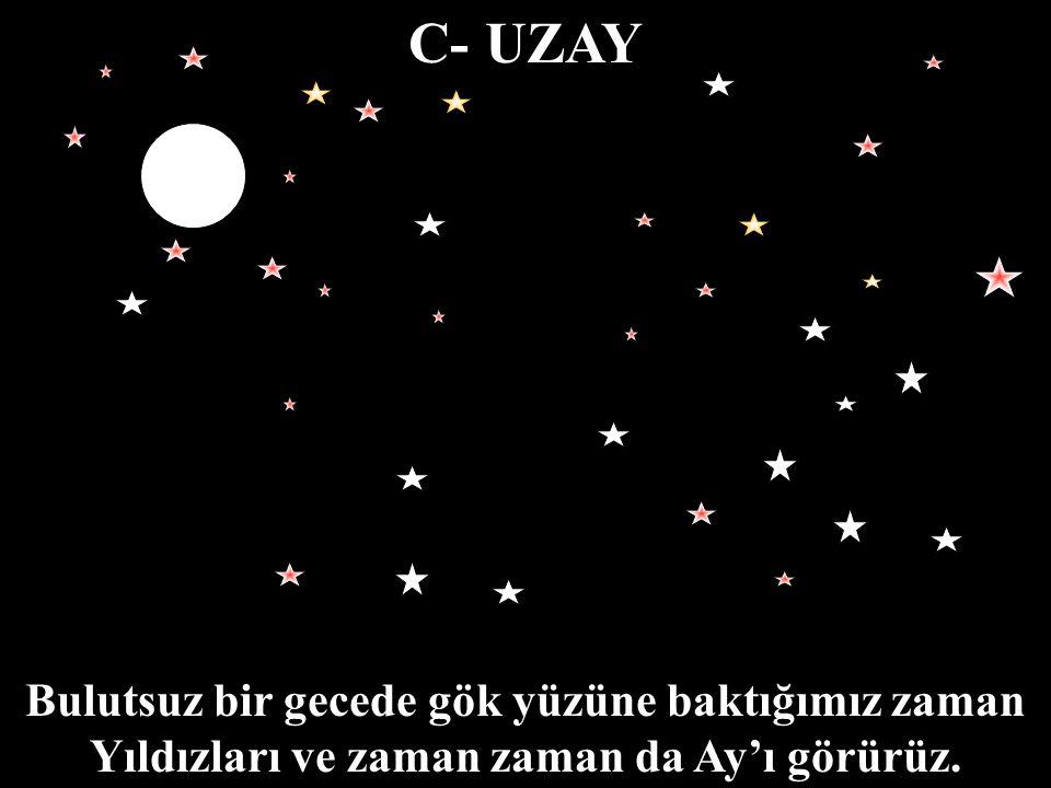 C- UZAY Bulutsuz bir gecede gök yüzüne baktığımız zaman Yıldızları ve zaman da Ay'ı görürüz.