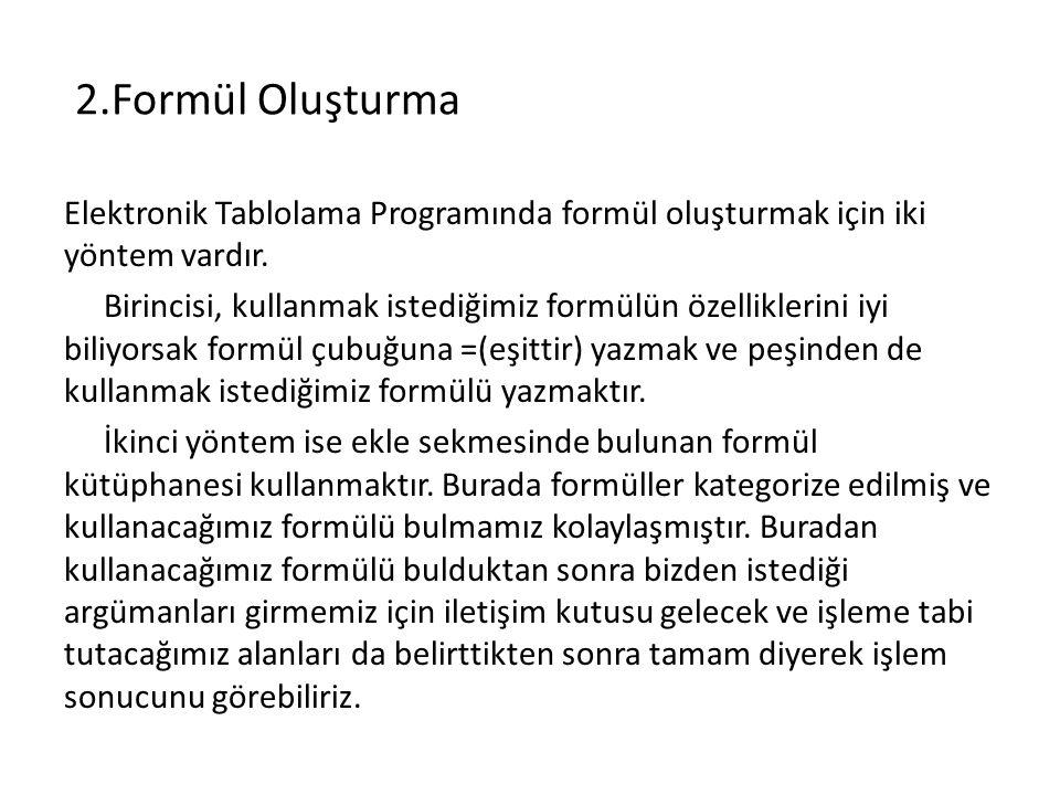 2.Formül Oluşturma Elektronik Tablolama Programında formül oluşturmak için iki yöntem vardır. Birincisi, kullanmak istediğimiz formülün özelliklerini