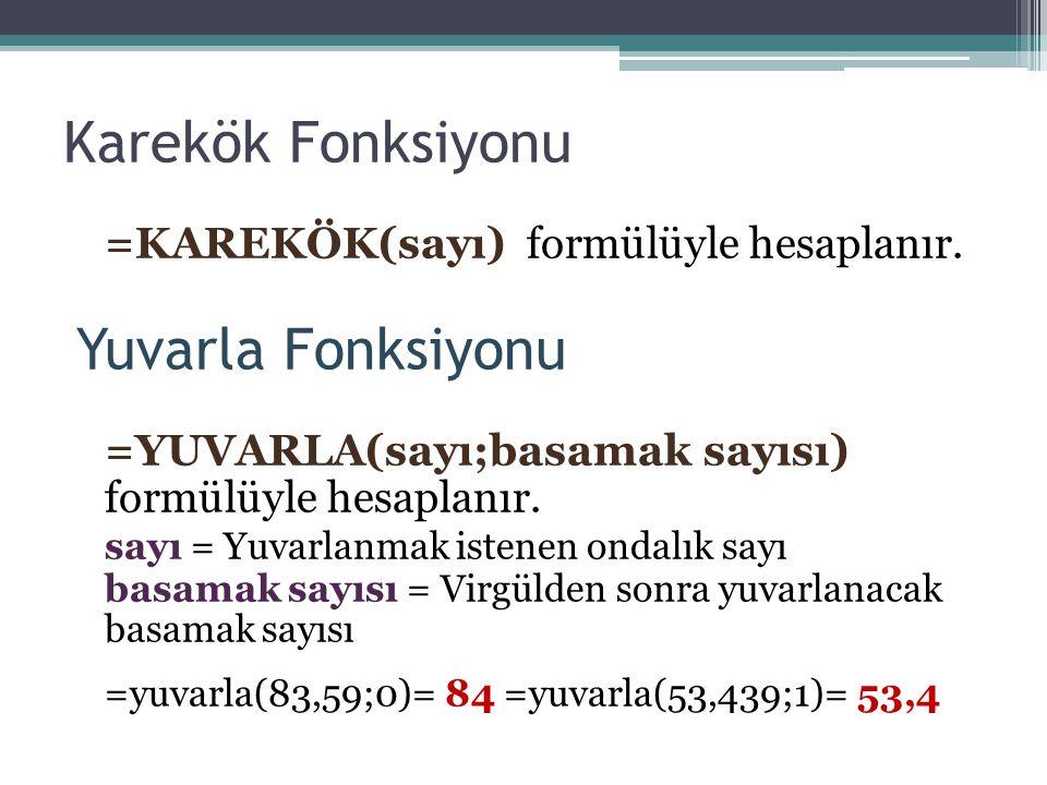 Karekök Fonksiyonu =KAREKÖK(sayı) formülüyle hesaplanır. Yuvarla Fonksiyonu =YUVARLA(sayı;basamak sayısı) formülüyle hesaplanır. sayı = Yuvarlanmak is