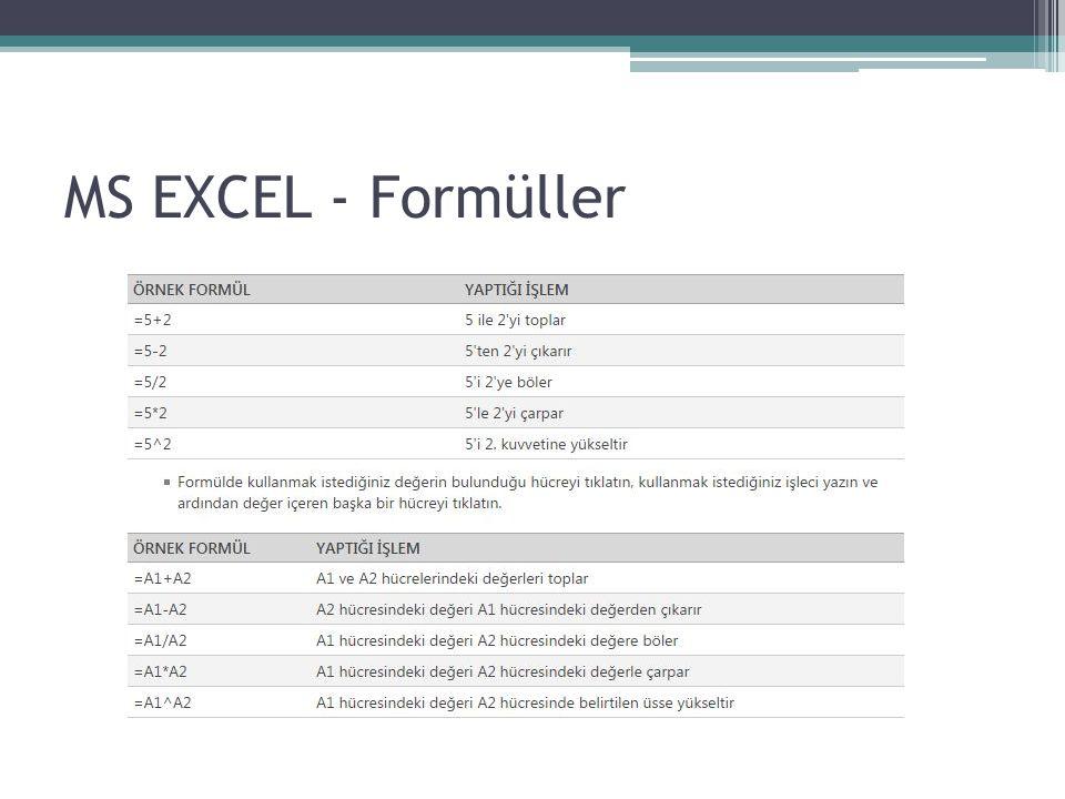 Bütün formüller Eşittir(=) işareti ile başlar.Formül içerisinde boşluk kullanılmaz.