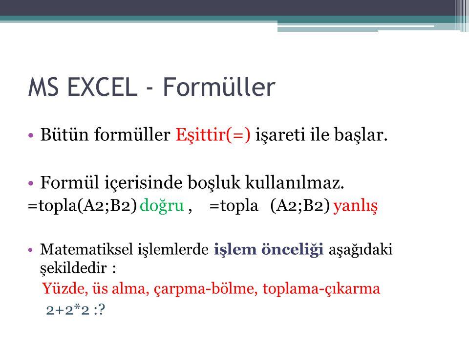 Bütün formüller Eşittir(=) işareti ile başlar. Formül içerisinde boşluk kullanılmaz. =topla(A2;B2) doğru, =topla (A2;B2) yanlış Matematiksel işlemlerd