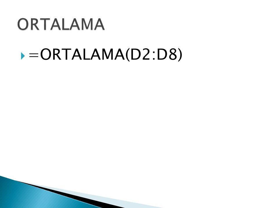  =ORTALAMA(D2:D8)