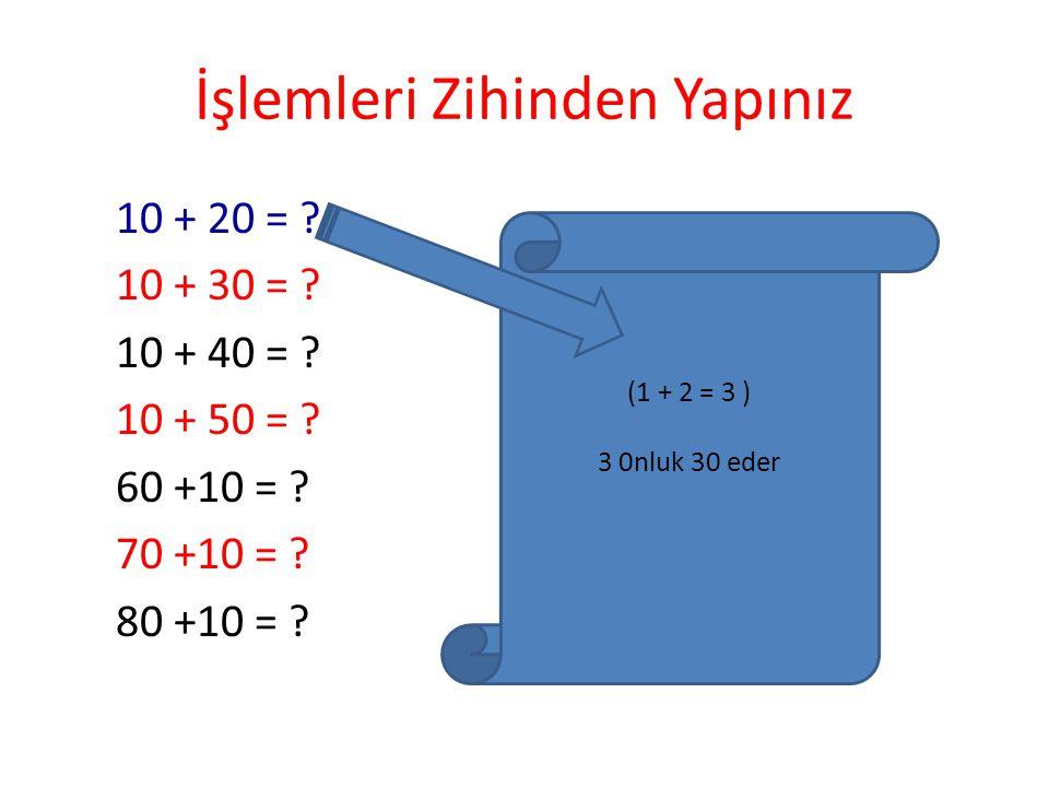 İşlemleri Zihinden Yapalım 90-80 = ? Sıfırları Dikkate Alma 9-8 = 1 (9 Onluktan 8 0nluk Çıkarılırsa 1 Onluk Kalır) 90-80 = 10 olur