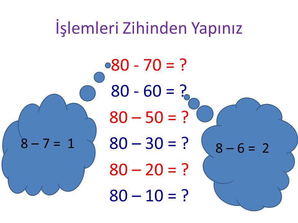 İşlemleri Zihinden Yapınız 10 + 20 = ? 10 + 30 = ? 10 + 40 = ? 10 + 50 = ? 60 +10 = ? 70 +10 = ? 80 +10 = ? (1 + 2 = 3 ) 3 0nluk 30 eder