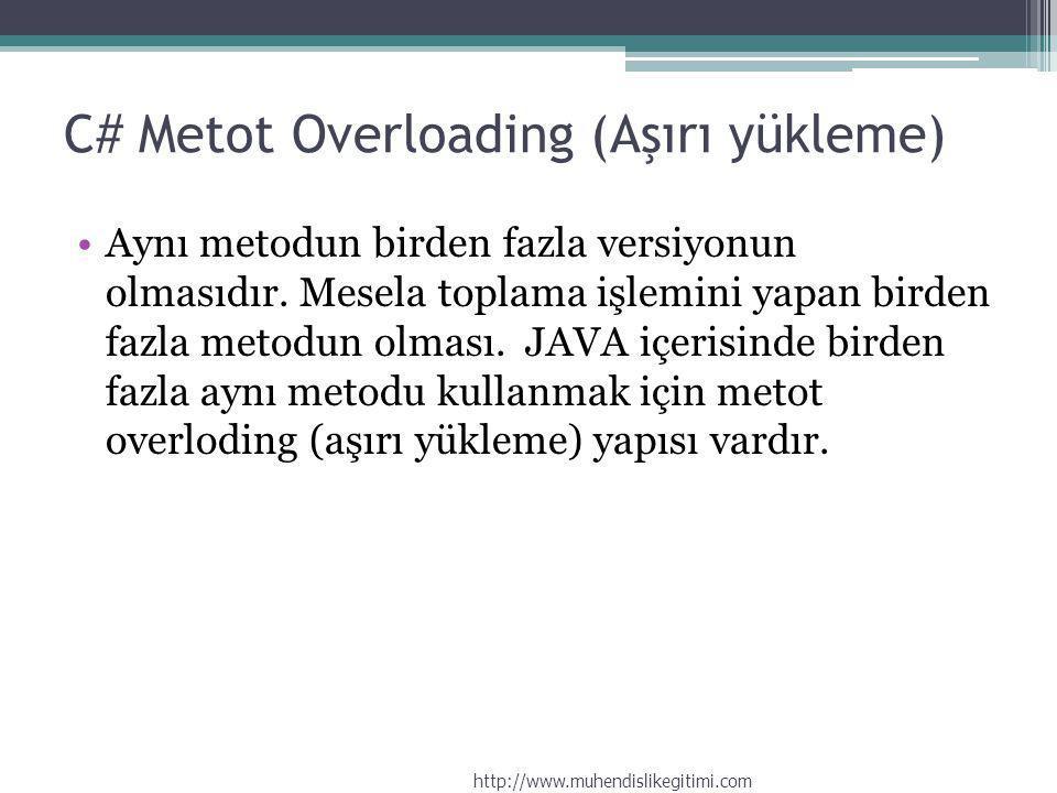 C# Metot Overloading (Aşırı yükleme) Aynı metodun birden fazla versiyonun olmasıdır. Mesela toplama işlemini yapan birden fazla metodun olması. JAVA i