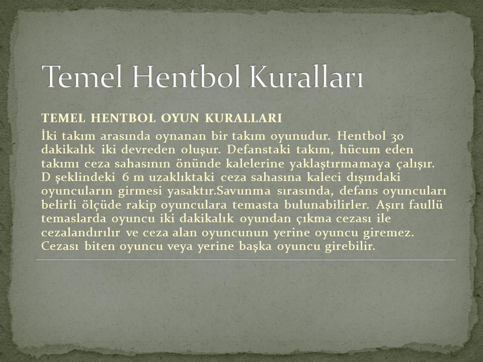 TEMEL HENTBOL OYUN KURALLARI İki takım arasında oynanan bir takım oyunudur. Hentbol 30 dakikalık iki devreden oluşur. Defanstaki takım, hücum eden tak