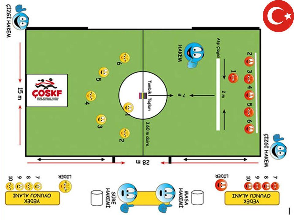 Oyun sahasının yüzeyi: Spor Salonlarında: Oyun sahası parke ya da tahtadan oluşur.