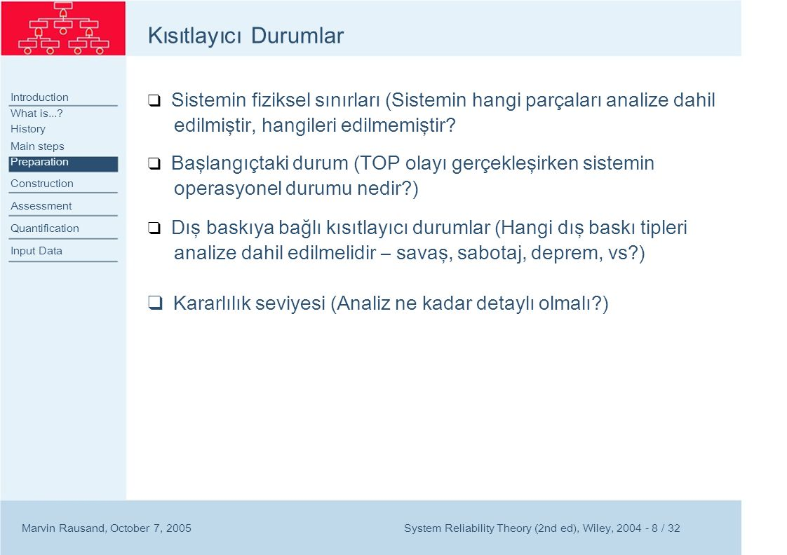 Introduction Construction Construction Symbols Example Assessment Quantification Input Data Marvin Rausand, October 7, 2005 Hata Ağacı İnşası System Reliability Theory (2nd ed), Wiley, 2004 - 9 / 32
