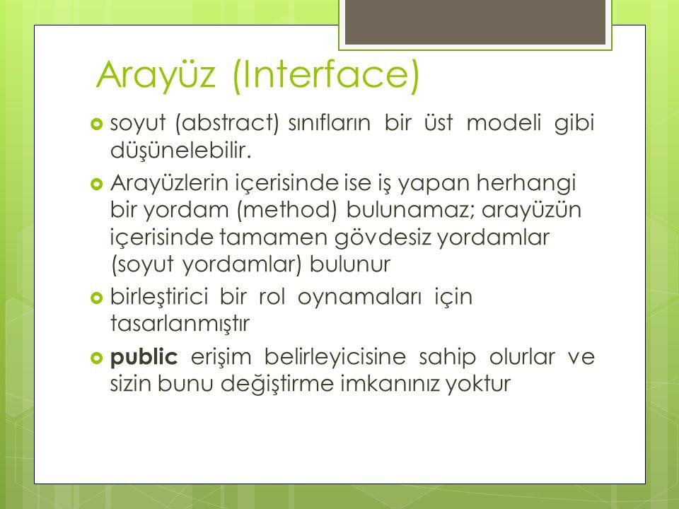 Arayüz (Interface)  soyut (abstract) sınıfların bir üst modeli gibi düşünelebilir.  Arayüzlerin içerisinde ise iş yapan herhangi bir yordam (method)