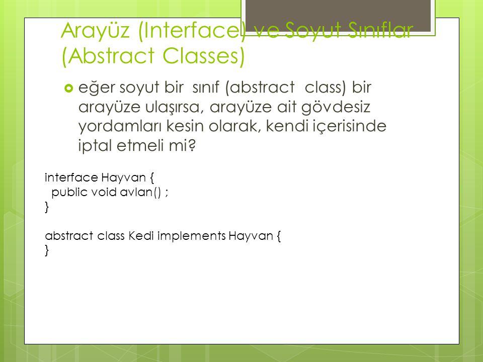 Arayüz (Interface) ve Soyut Sınıflar (Abstract Classes)  eğer soyut bir sınıf (abstract class) bir arayüze ulaşırsa, arayüze ait gövdesiz yordamları