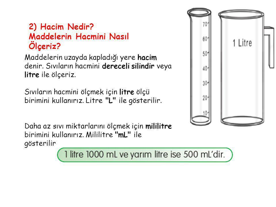 Bir miktar sıvının hacmini ölçerken sıvıyı dereceli silindire ya da ölçü kabına doldururuz.