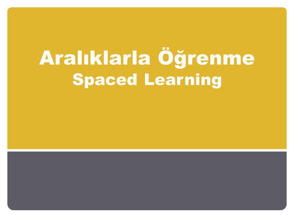 Aralıklarla Öğrenme Spaced Learning