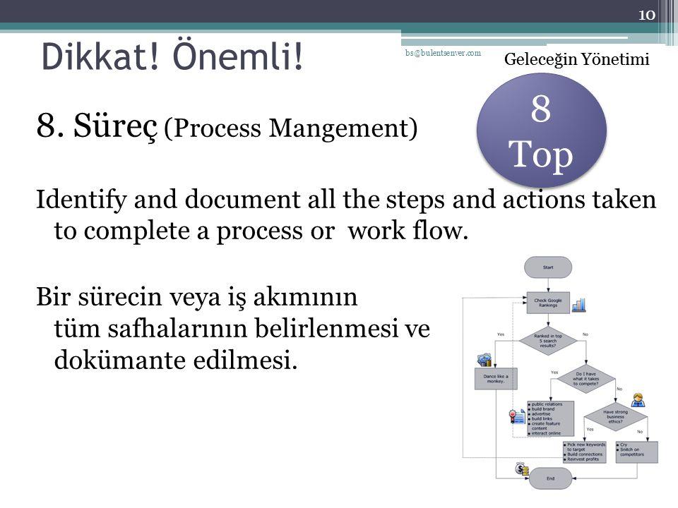 Geleceğin Yönetimi Dikkat! Önemli! 8. Süreç (Process Mangement) Identify and document all the steps and actions taken to complete a process or work fl
