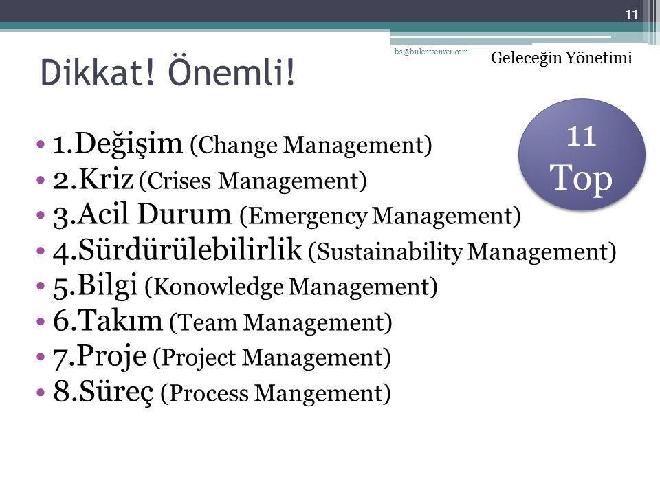 Geleceğin Yönetimi Dikkat! Önemli! 1.Değişim (Change Management) 2.Kriz (Crises Management) 3.Acil Durum (Emergency Management) 4.Sürdürülebilirlik (S