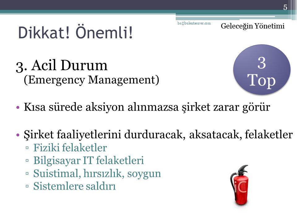 Geleceğin Yönetimi Dikkat! Önemli! 3. Acil Durum (Emergency Management) Kısa sürede aksiyon alınmazsa şirket zarar görür Şirket faaliyetlerini durdura