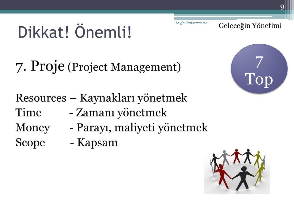 Geleceğin Yönetimi Dikkat! Önemli! 7. Proje (Project Management) Resources – Kaynakları yönetmek Time - Zamanı yönetmek Money - Parayı, maliyeti yönet