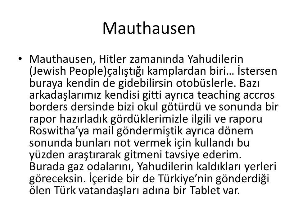 Mauthausen Mauthausen, Hitler zamanında Yahudilerin (Jewish People)çalıştığı kamplardan biri… İstersen buraya kendin de gidebilirsin otobüslerle. Bazı