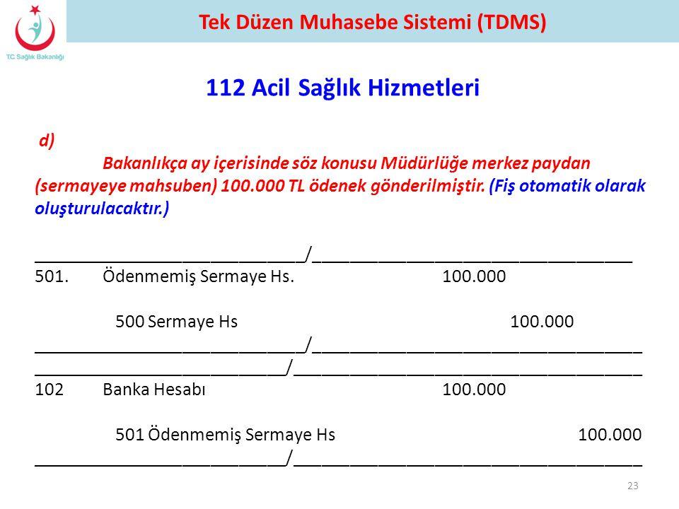 d) Bakanlıkça ay içerisinde söz konusu Müdürlüğe merkez paydan (sermayeye mahsuben) 100.000 TL ödenek gönderilmiştir. (Fiş otomatik olarak oluşturulac