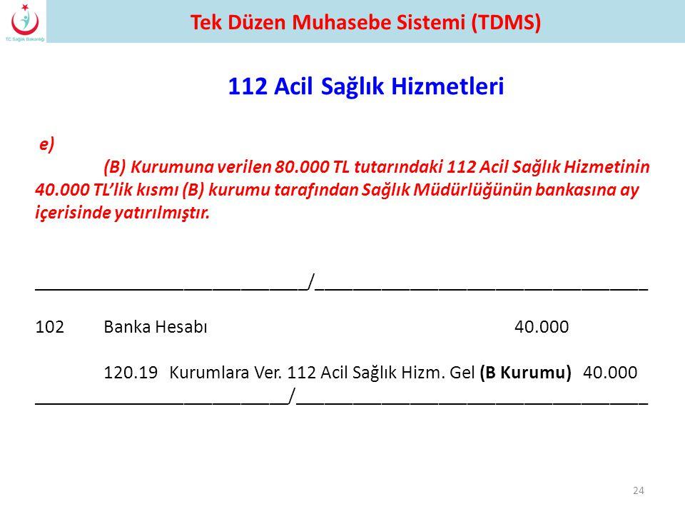 e) (B) Kurumuna verilen 80.000 TL tutarındaki 112 Acil Sağlık Hizmetinin 40.000 TL'lik kısmı (B) kurumu tarafından Sağlık Müdürlüğünün bankasına ay iç