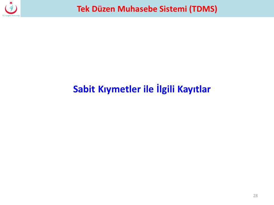 28 Sabit Kıymetler ile İlgili Kayıtlar Tek Düzen Muhasebe Sistemi (TDMS)