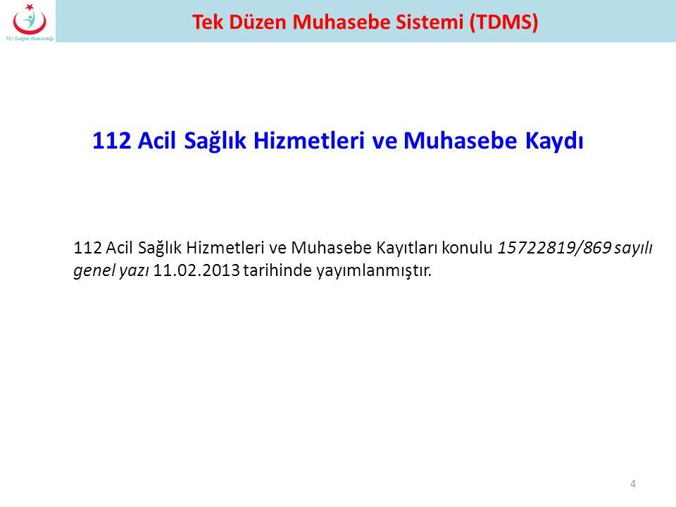 112 Acil Sağlık Hizmetleri ve Muhasebe Kayıtları konulu 15722819/869 sayılı genel yazı 11.02.2013 tarihinde yayımlanmıştır. 4 112 Acil Sağlık Hizmetle