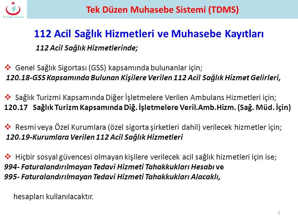 112 Acil Sağlık Hizmetlerinde;  Genel Sağlık Sigortası (GSS) kapsamında bulunanlar için; 120.18-GSS Kapsamında Bulunan Kişilere Verilen 112 Acil Sağl