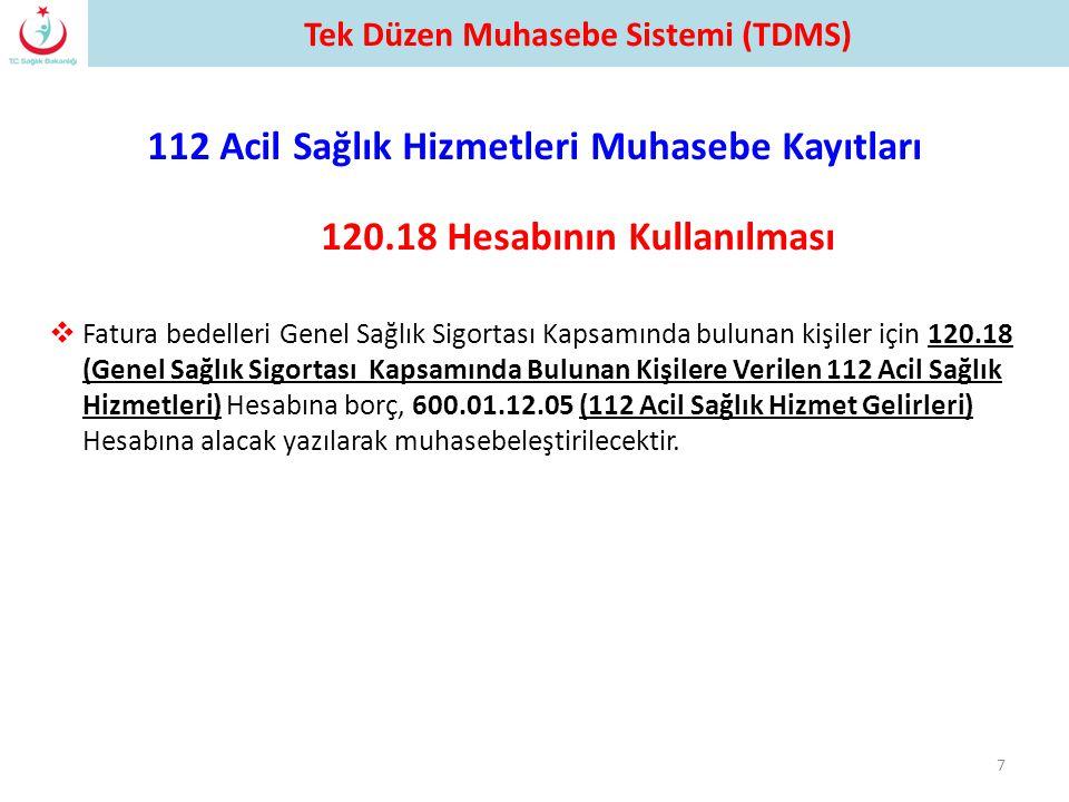 112 Acil Sağlık Hizmetleri Muhasebe Kayıtları 7 120.18 Hesabının Kullanılması Tek Düzen Muhasebe Sistemi (TDMS)  Fatura bedelleri Genel Sağlık Sigort