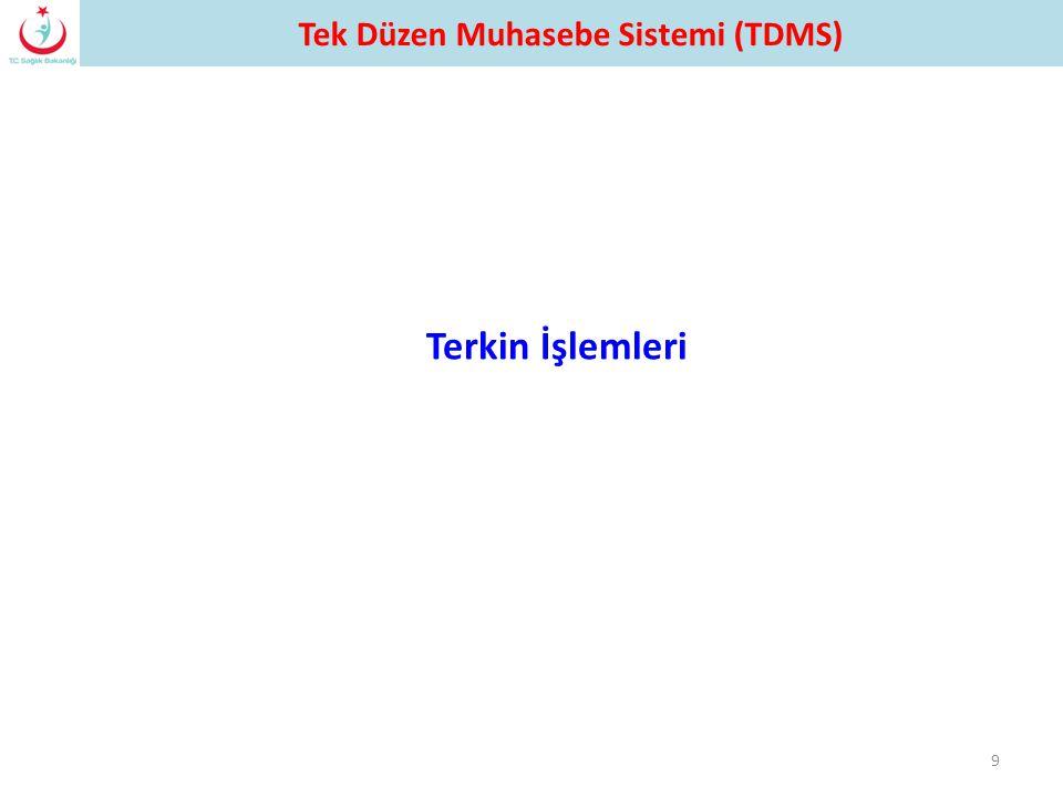 9 Terkin İşlemleri Tek Düzen Muhasebe Sistemi (TDMS)