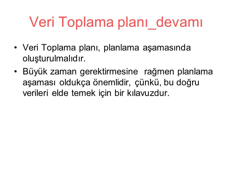 Veri Toplama planı_devamı Veri Toplama planı, planlama aşamasında oluşturulmalıdır. Büyük zaman gerektirmesine rağmen planlama aşaması oldukça önemlid