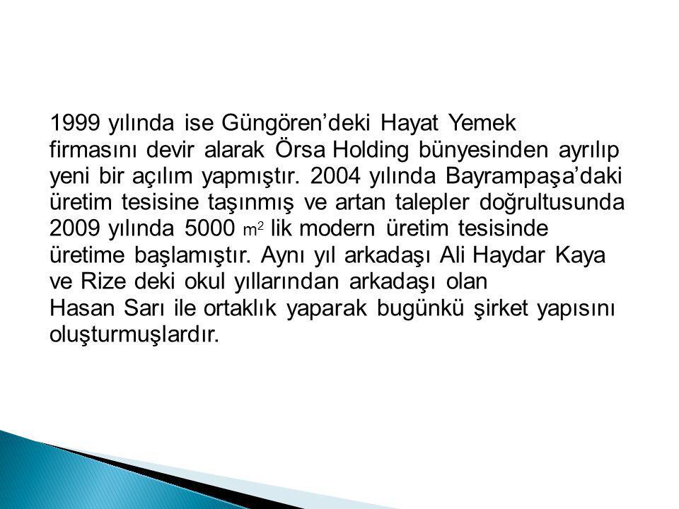 1999 yılında ise Güngören'deki Hayat Yemek firmasını devir alarak Örsa Holding bünyesinden ayrılıp yeni bir açılım yapmıştır. 2004 yılında Bayrampaşa'