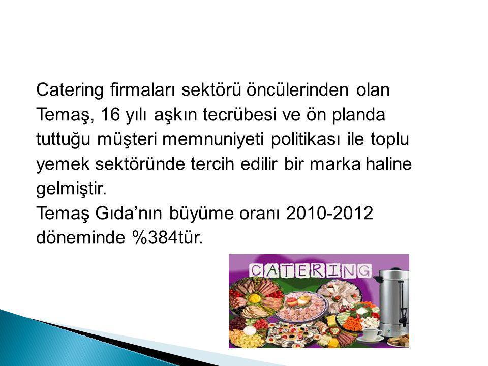 Catering firmaları sektörü öncülerinden olan Temaş, 16 yılı aşkın tecrübesi ve ön planda tuttuğu müşteri memnuniyeti politikası ile toplu yemek sektör