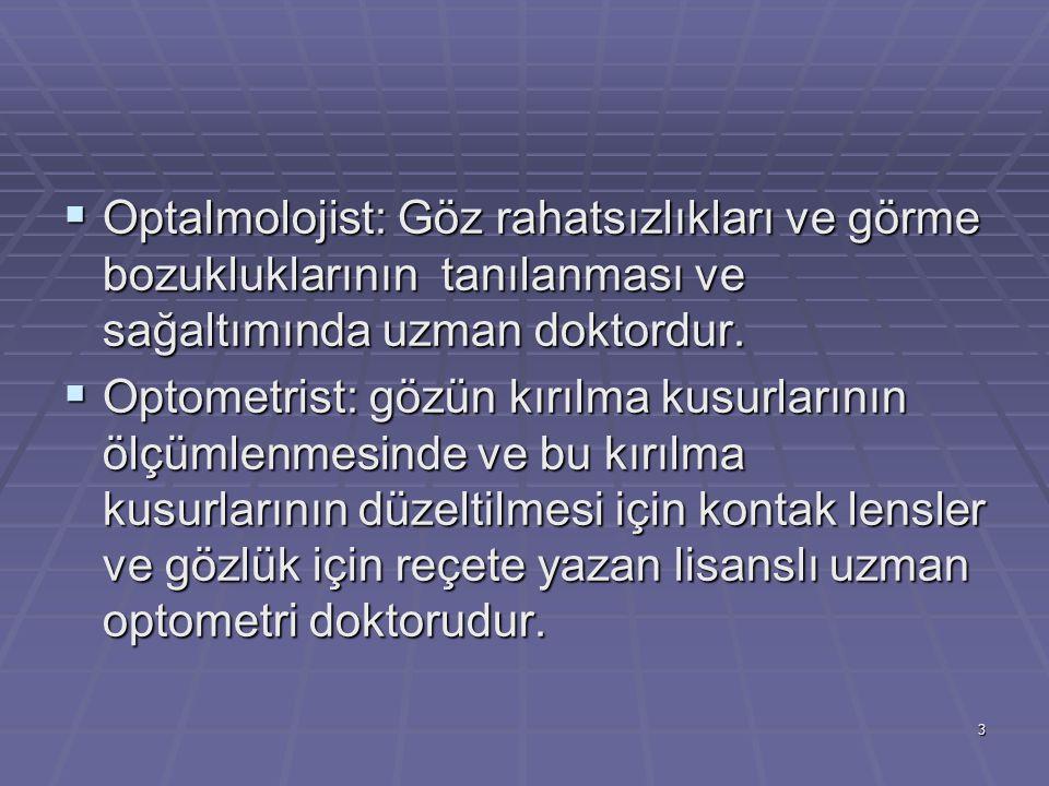  Optalmolojist: Göz rahatsızlıkları ve görme bozukluklarının tanılanması ve sağaltımında uzman doktordur.
