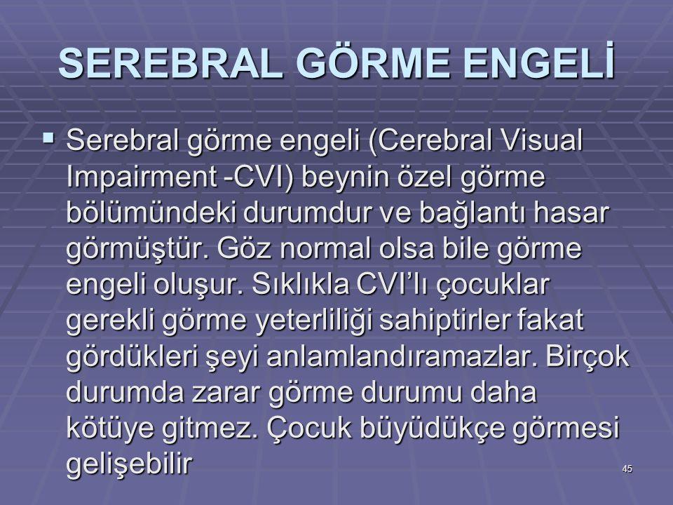 SEREBRAL GÖRME ENGELİ  Serebral görme engeli (Cerebral Visual Impairment -CVI) beynin özel görme bölümündeki durumdur ve bağlantı hasar görmüştür. Gö