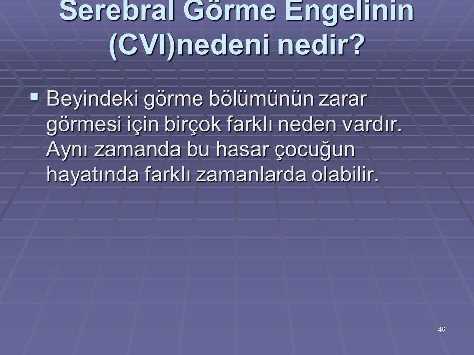 Serebral Görme Engelinin (CVI)nedeni nedir.
