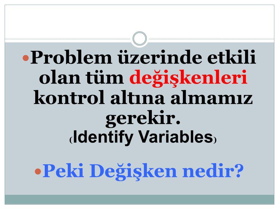 Problem üzerinde etkili olan tüm değişkenleri kontrol altına almamız gerekir. ( Identify Variables ) Peki Değişken nedir?