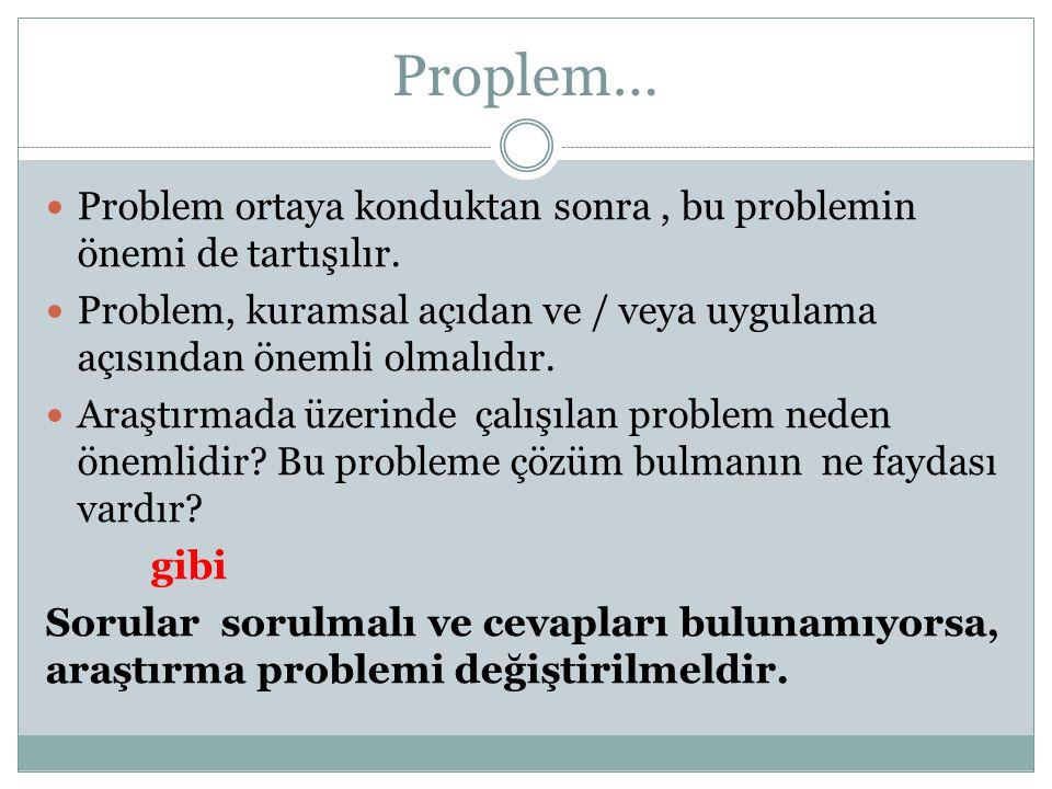 Proplem… Problem ortaya konduktan sonra, bu problemin önemi de tartışılır. Problem, kuramsal açıdan ve / veya uygulama açısından önemli olmalıdır. Ara
