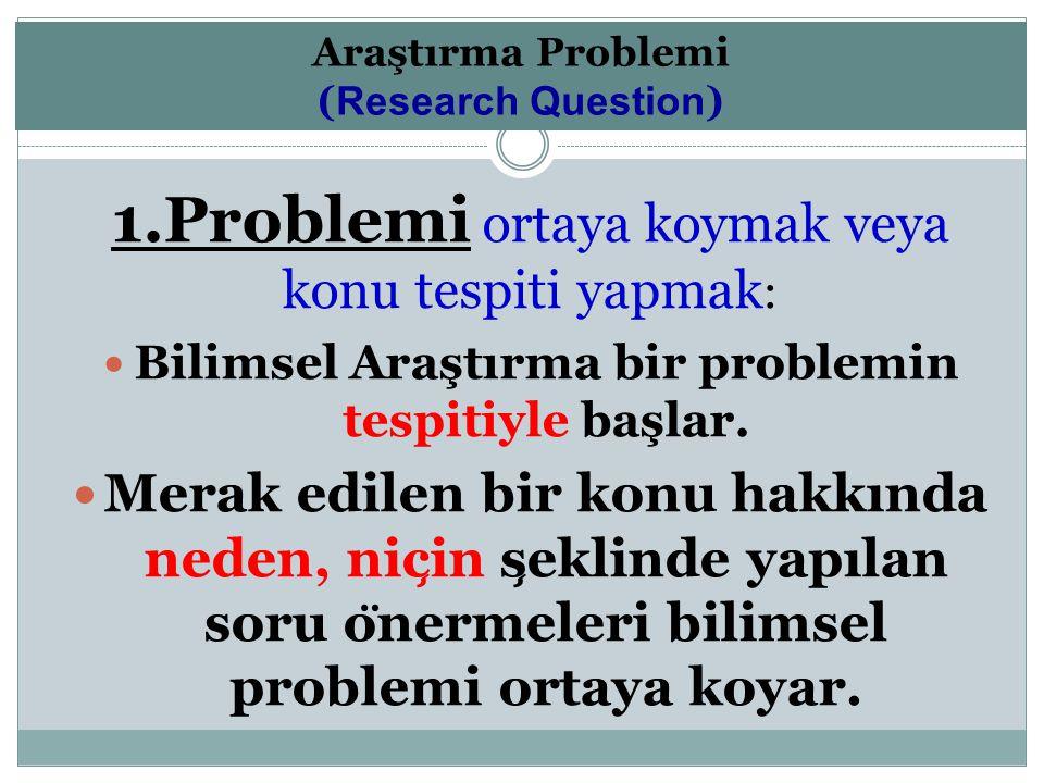 1.Problemi ortaya koymak veya konu tespiti yapmak : Bilimsel Araştırma bir problemin tespitiyle başlar. Merak edilen bir konu hakkında neden, nic ̧ in